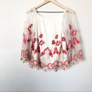 Alice + Olivia White and Red Floral Lace Blouse